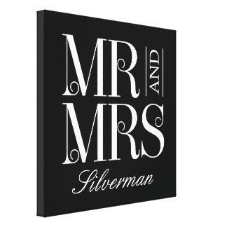 Mr and Mrs Custom Canvas Stretched Canvas Print