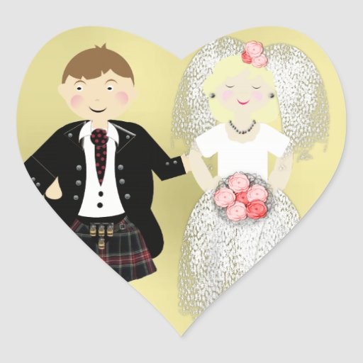 Mr and Mrs Cute Bride and Kilted Groom Heart Stickers