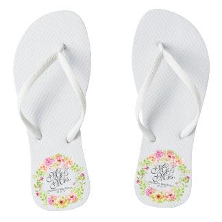 Mr and Mrs Elegant Floral Watercolor Flip Flops