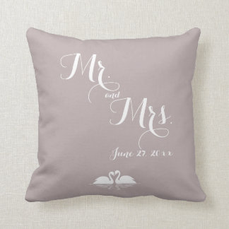 Mr. and Mrs. Elegant Grey Wedding Pillows Swans