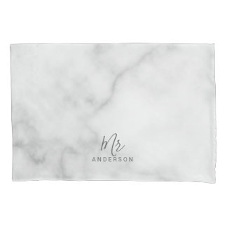 Mr and Mrs | Elegant Marble Modern Script Wedding Pillowcase