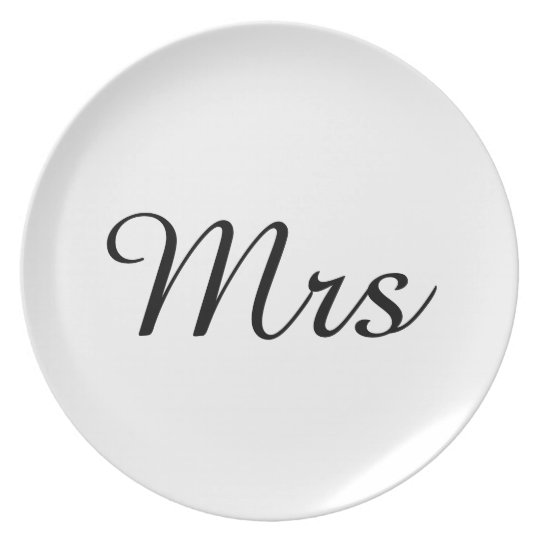 Mr and Mrs | elegant modern matching couple Plate