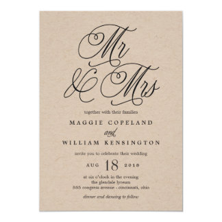Mr and Mrs Elegant Wedding Invitation Kraft