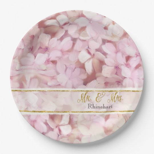 Mr. and Mrs. Faux Gold Glitter Pink Hydrangeas
