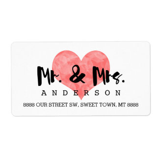Mr. and Mrs. Faux Pink Hand Stamped Heart Wedding