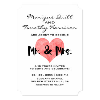 Mr. and Mrs. Faux Pink Hand Stamped Heart Wedding 13 Cm X 18 Cm Invitation Card