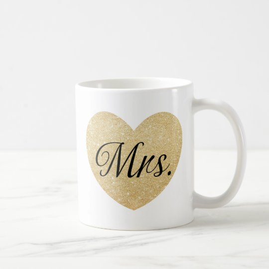 Mr.and Mrs. glitter golden heart personalized2 Coffee Mug