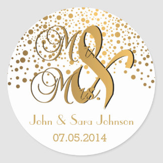 Mr and Mrs | Gold Dots | Wedding| Personalize Round Sticker