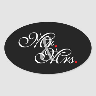 Mr. and Mrs. Husband Wife His Hers Newly Weds Oval Sticker