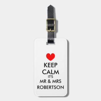 Mr and Mrs keep calm luggage tag for newly weds