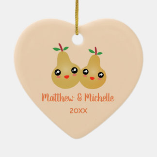 Mr and Mrs Lovely Pair Cute Kawaii Perfect Pear Christmas Ornament