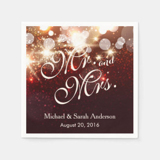 Mr. and Mrs. Luxury Gold Glitter Sparkles Wedding Disposable Serviettes