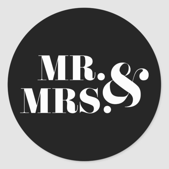 Mr and Mrs Modern Bold Wedding Favour Sticker