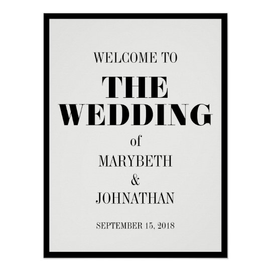 Mr and Mrs Modern Bold Wedding Welcome Poster