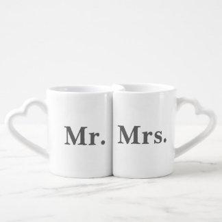 Mr and Mrs mug set (charcoal grey text)
