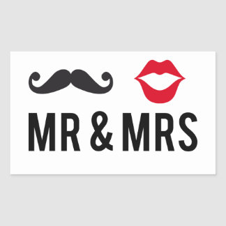 Mr and Mrs, mustache and red lips Rectangular Sticker