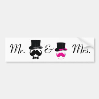 Mr. and Mrs. Mustache sticker Bumper Sticker