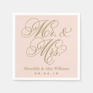 Mr. and Mrs. Napkins | Antique Gold and Blush Pink Disposable Napkin