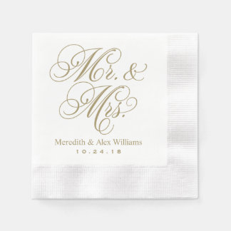 Mr. and Mrs. Napkins | Antique Gold and White Disposable Napkins