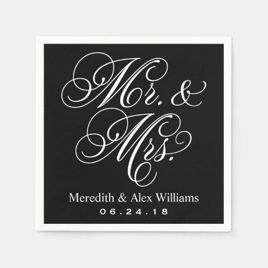 Mr. and Mrs. Napkins | Black and White Disposable Napkin