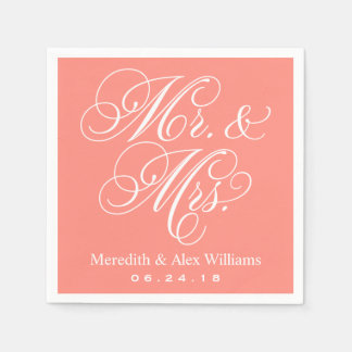 Mr. and Mrs. Napkins | Coral Pink Paper Napkin