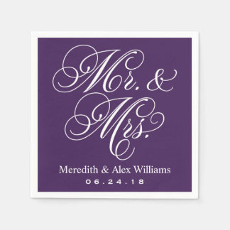 Mr. and Mrs. Napkins | Eggplant Purple and White Paper Napkins