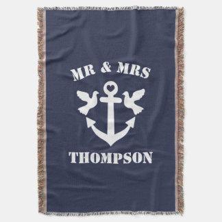 Mr and mrs navy blue and white nautical anchor throw blanket