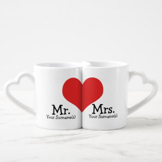 Mr and Mrs Newly Wed Heart Wedding Coffee Mug Set