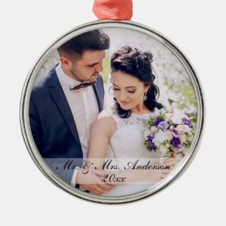 Mr. and Mrs. Newlywed Wedding Photo Ornament W