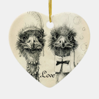 Mr. and Mrs. Ostrich Christmas Ornament