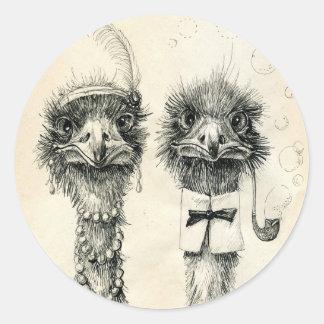 Mr. and Mrs. Ostrich Round Sticker