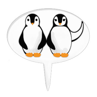 Mr and Mrs Penguin Design Cake Pick