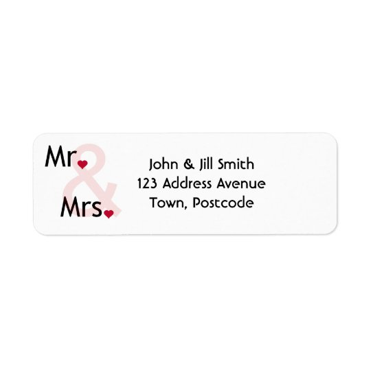Mr and Mrs personalised address labels