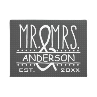 Mr and Mrs Personalized Wedding Last Name Date Doormat
