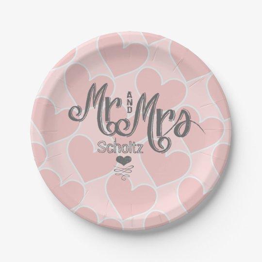 Mr. and Mrs. Pink Heart Pattern Chalkboard Style