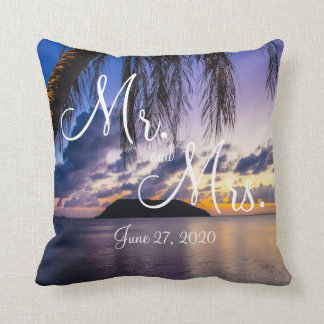 Mr. and Mrs. Purple Beach Wedding Pillows