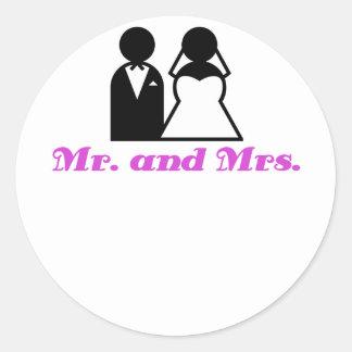 Mr and Mrs Round Sticker