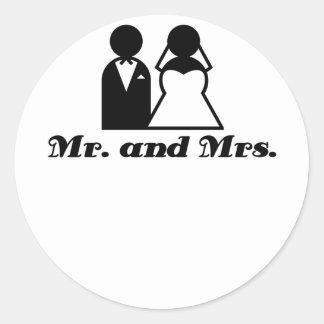 Mr and Mrs Round Stickers
