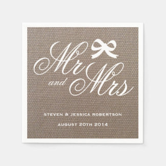 Mr and Mrs rustic burlap country wedding napkins Disposable Serviette