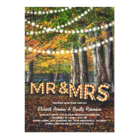 Mr and Mrs Rustic Woodland Tree Wedding Card
