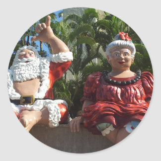 Mr and Mrs Santa Claus Classic Round Sticker