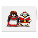 Mr. and Mrs. Santa Claus Penguin Greeting Card
