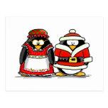 Mr. and Mrs. Santa Claus Penguin Postcard