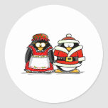 Mr. and Mrs. Santa Claus Penguin Classic Round Sticker