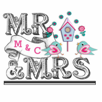 Mr and Mrs Sign With Love Birds Cake - Table Decor Standing Photo Sculpture