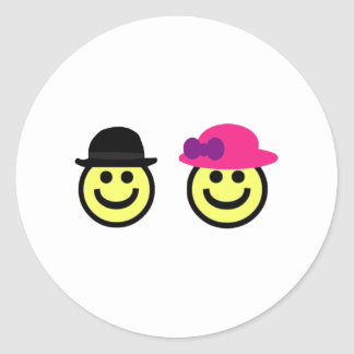 Mr. and Mrs.Smiley Face Round Sticker
