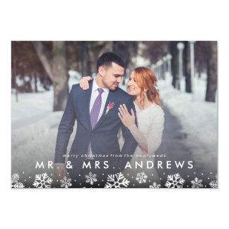 Mr. and Mrs. Snowflake Border Newlywed Photo Card 13 Cm X 18 Cm Invitation Card