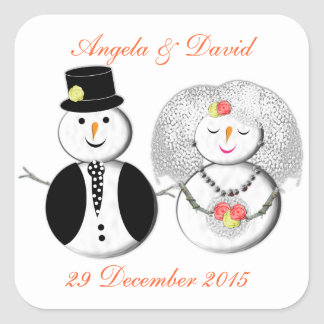 Mr and Mrs Snowman Cute Snow Bride and Groom Square Sticker