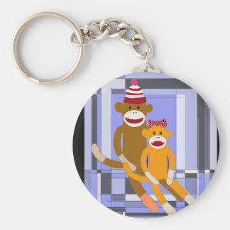 Mr. and Mrs. Sock Monkey. Basic Round Button Key Ring