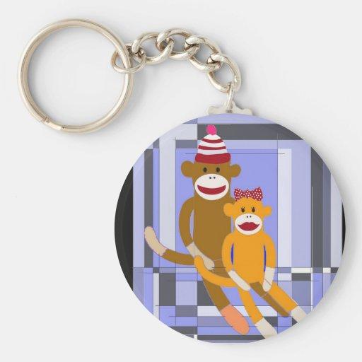 Mr. and Mrs. Sock Monkey. Keychain